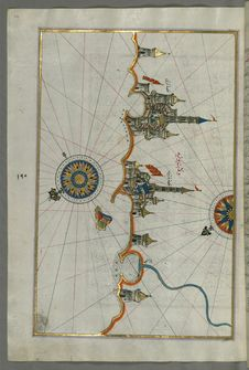 Free Illuminated Manuscript, Map Of The Italian Coastline From Barletta To Trani From Book On Navigation, Walters Art Museum Ms. W.658, Royalty Free Stock Image - 88694016