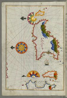 Free Illuminated Manuscript  Mykonos Island In The Aegean Sea, From Book On Navigation, Walters Art Museum Ms. W.658, Fol.116a Stock Photo - 88694020