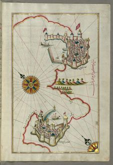 Free Illuminated Manuscript, Map Of The Coastline From Muggia &x28;Milje, Mūye&x29; To Trieste &x28;Rishtī&x29; &x28;Italy&x29; Royalty Free Stock Photo - 88694025