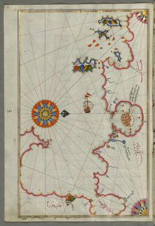 Free Illuminated Manuscript, Map Of The Bay Of Corinth From Book On Navigation, Walters Art Museum Ms. W.658, Fol.137a Stock Image - 88694041