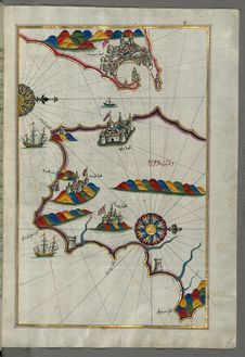 Free Illuminated Manuscript, Map Of The Southern Part Of The Calabrian Peninsula And The Straits Of Messina &x28;Mesīne&x29; From Bo Royalty Free Stock Photos - 88694048
