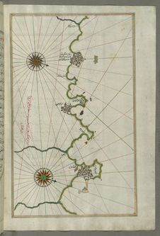 Free Illuminated Manuscript, Map Of The Algerian Coast Around Algiers &x28;Jazāʾir&x29; From Book On Navigation, Walters Art Museum Stock Photography - 88694062