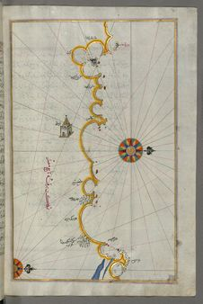 Free Illuminated Manuscript, Map Of The Egyptian Coast From Matrūḥ East Towards Alexandria From Book On Navigation, Walters Art Muse Stock Photo - 88694100