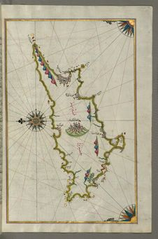 Free Illuminated Manuscript, Map Of The Island Of Cyprus &x28;Qibrīz, Kıbrıs&x29; From Book On Navigation, Walters Art Museum Ms. Stock Image - 88694101