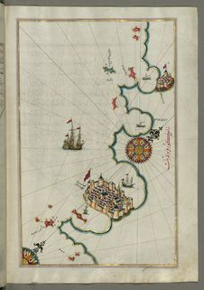Free Illuminated Manuscript, Map Of The Coastline From Rovinj North &x28;Croatia&x29; From Book On Navigation, Walters Art Museum Ms. Stock Photography - 88694132
