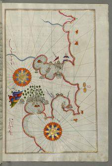 Free Illuminated Manuscript, Map Of The Coast Of Tunisia With The Ports Of Bizerte &x28;Binzert&x29; And Tunis &x28;Ṭūnūs&x29; Stock Image - 88694141