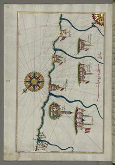 Free Illuminated Manuscript, Map Of Fortresses And Towns South Of Ancona, Including Loreto From Book On Navigation, Walters Art Museum Royalty Free Stock Photos - 88694148
