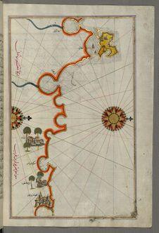 Free Illuminated Manuscript, Map Of The Coast Of Tripoli &x28;Ṭarābulus&x29; &x28;Libya&x29; From Book On Navigation, Walters Ar Stock Photo - 88694160