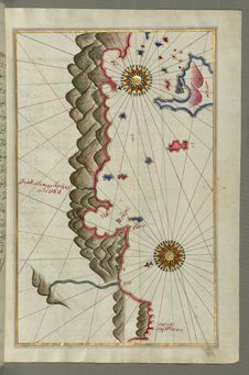 Free Illuminated Manuscript, Map Of Unidentified Islands Off The Southern Anatolian Coast From Book On Navigation, Walters Art Museum Stock Photo - 88694190