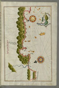 Free Illuminated Manuscript, Map Of Some Unidentified Islands Off The Southern Anatolian Coast From Book On Navigation, Walters Art Mus Royalty Free Stock Image - 88694196