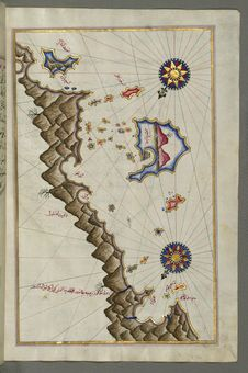 Free Illuminated Manuscript, Map Of Some Unidentified Islands Off The Southern Anatolian Coast From Book On Navigation, Walters Art Mu Stock Photos - 88694203