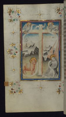 Free Illuminated Manuscript, Book Of Hours, Holy Cross With Symbols Of The Four Evangelists, Walters Art Museum Ms. W.165, Fol. 113v Stock Image - 88694291