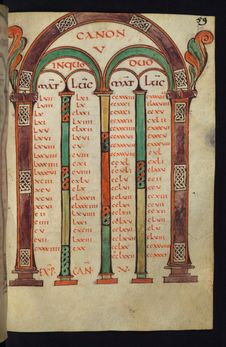 Free Illuminated Manuscript, Gospels Of Freising,Canon Tables, Walters Art Museum Ms. W.4, Fol. 30r Stock Images - 88694304