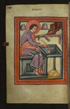 Free Illuminated Manuscript, Gospels Of Freising, Evangelist Portrait Of Mark, Walters Art Museum Ms. W.4, Fol. 90v Royalty Free Stock Photography - 88694327