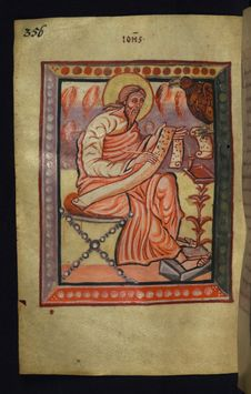 Free Illuminated Manuscript, Gospels Of Freising, Evangelist Portrait Of John, Walters Art Museum Ms. W.4, Fol. 178v Royalty Free Stock Images - 88694349
