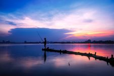 Free Fisherman At Sunset Royalty Free Stock Images - 88695939