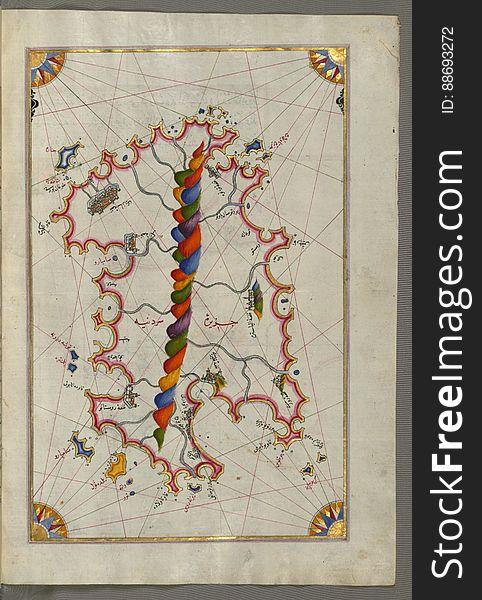 Illuminated Manuscript Map of Sardina from Book of Navigation, Walters Art Museum, Ms. W.658, fol. 226b