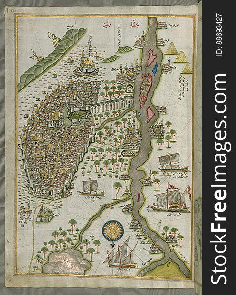 Illuminated Manuscript Map of Cairo, from Book on Navigation, Walters Ms. W.658, fol. 305b
