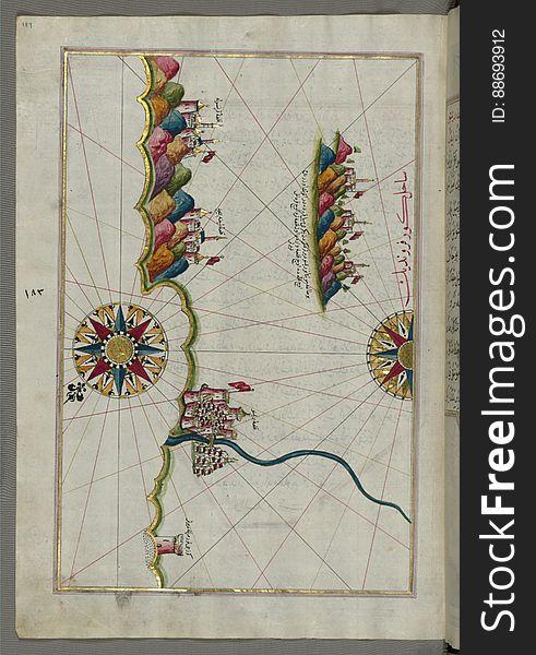 Illuminated Manuscript, Map of the Italian coastline from Rimini south towards Pesaro from Book on Navigation, Walters Art Museum