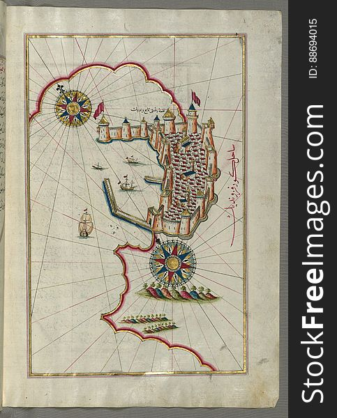 Illuminated Manuscript, Map of the fortress of Trieste &x28;Rishtī&x29; &x28;Italy&x29; from Book on Navigation, Walters Art