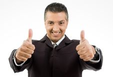 Free Smiling Boss Showing Thumb Up With Both Hands Royalty Free Stock Images - 8871449