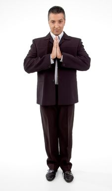 Free Front View Of Praying Adult Businessman Royalty Free Stock Image - 8871566