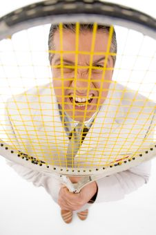 Free Top View Of Boss Holding Tennis Racket Stock Photos - 8871973