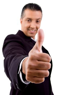 Free Front View Of Smiling Boss Showing Thumb Up Royalty Free Stock Photos - 8874488