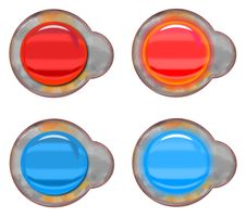 Glassy And Rusty Buttons Royalty Free Stock Image