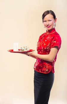Free East Woman With A Tray Royalty Free Stock Images - 8875319