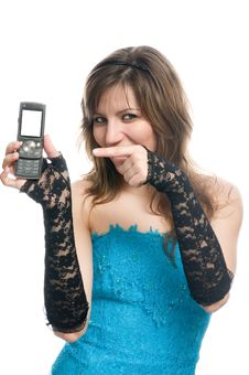 The Girl Suggests To Call By Phone Stock Photos