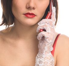 Elegant Lady Calls By Phone Stock Photo