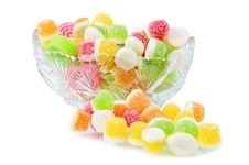 Heap Fruit Candy In Cut Glass Dish Stock Photo