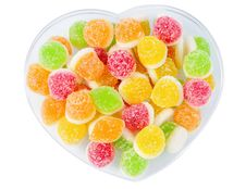 Heap Tasty Fruit Candy Lie On Plate Stock Photos