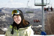 Portrait Of Woman Skier Stock Images