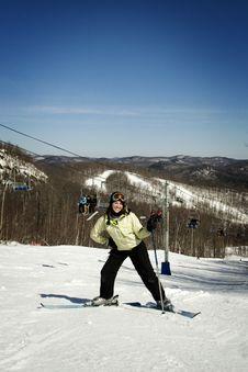 Beautiful Girl Skier Stock Image