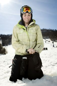 Free Beautful Girl At Ski Hill Putting On Her Gloves Stock Photos - 8877313