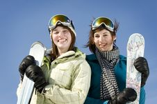 Free Portrait Of Two Girls Holding There Skis Royalty Free Stock Photo - 8877405