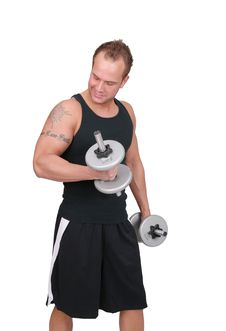 Free Man Lifting Weights Stock Images - 8877614