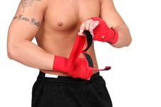 Wrapping Boxing Hands Stock Photo