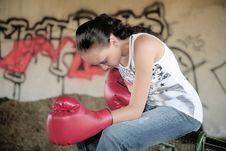 Free Boxing Woman With Graffiti Stock Image - 8877661