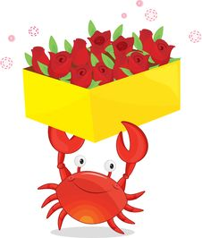 Free A Crab With Flowers Royalty Free Stock Image - 8877906