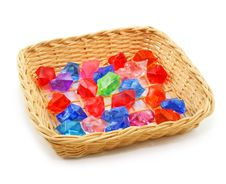 Free Colored Assorted Gemstones In Wooden Basket Royalty Free Stock Image - 8878006
