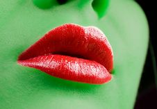 Free Glamour Red Gloss Lips Stock Photography - 8878792