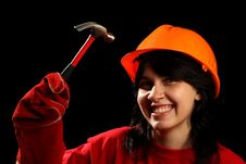 Young Woman With Work Tools Royalty Free Stock Photos