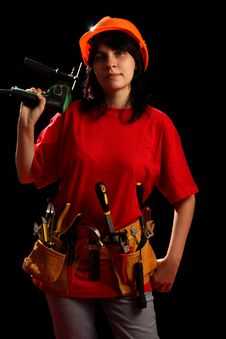 Free Young Woman With Work Tools And Drill Stock Photos - 8878903