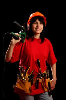 Free Young Woman With Work Tools And Drill Royalty Free Stock Photography - 8878917