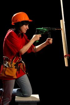 Free Young Woman With Work Tools And Drill Stock Image - 8878931