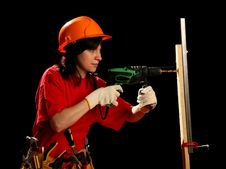 Free Young Woman With Work Tools And Drill Stock Photos - 8878943
