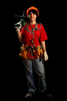 Free Young Woman With Work Tools And Drill Stock Images - 8878974